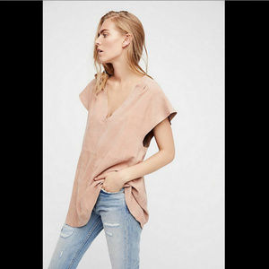 FREE PEOPLE Talk Of The Town Suede Tunic Top Sz. S